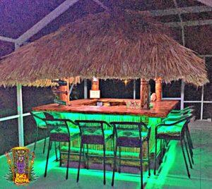 Tiki Hut Bar on Lanai with LED lighting